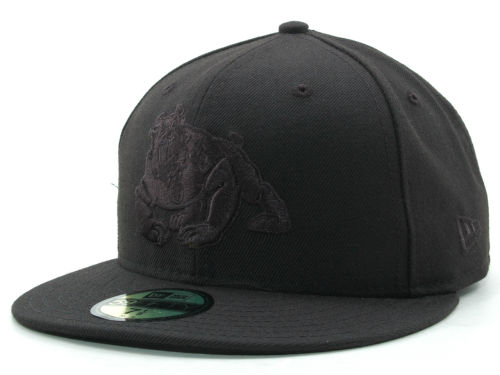 Fresno State Bulldogs New Era NCAA Black on Black 59FIFTY Hats