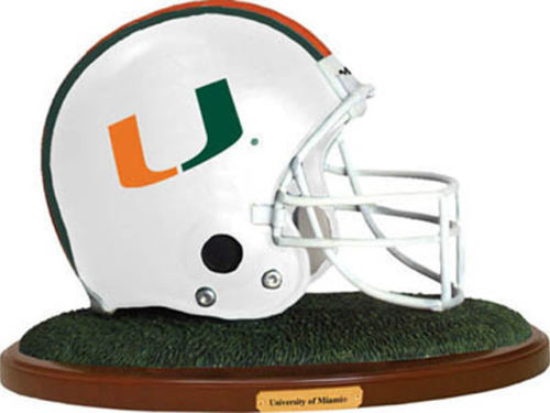 Miami Hurricanes Replica Helmet with Wood Base