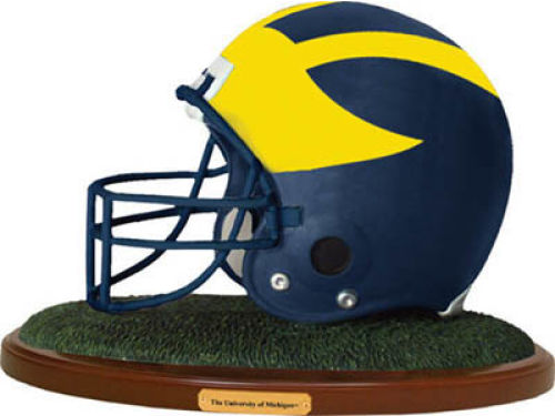 Michigan Wolverines Replica Helmet with Wood Base