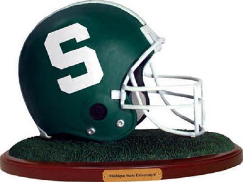 Michigan State Spartans Replica Helmet with Wood Base