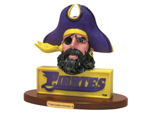 East Carolina Pirates 3D Logo with Wood Base