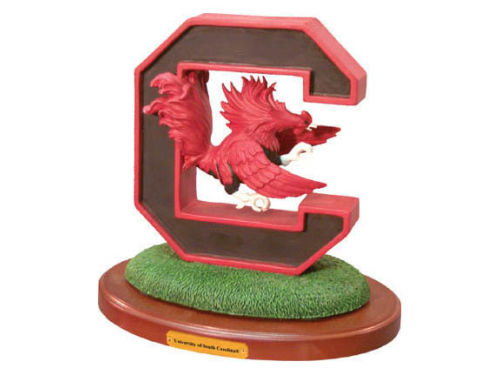 South Carolina Gamecocks 3D Logo with Wood Base