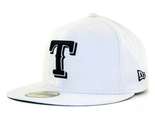 Texas Rangers New Era MLB White And Black 59FIFTY Cap Hats
