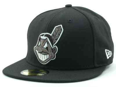 Cleveland Indians MLB Black and White Fashion 59FIFTY Cap Hats