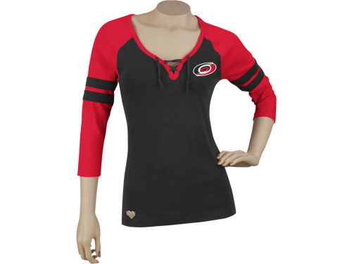 Carolina Hurricanes Reebok NHL Womens Ribbed Henley T-Shirt