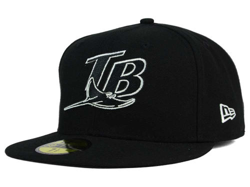 Tampa Bay Rays New Era MLB Black and White Fashion 59FIFTY Cap Hats