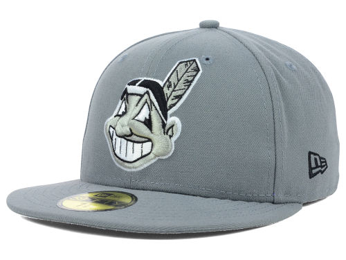 Cleveland Indians New Era MLB Gray BW 59FIFTY Cap Hats