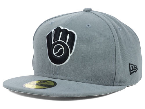 Milwaukee Brewers New Era MLB Gray BW 59FIFTY Cap Hats