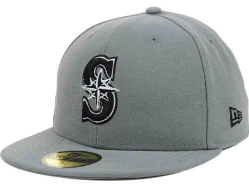 Seattle Mariners New Era MLB Gray BW 59FIFTY Cap Hats