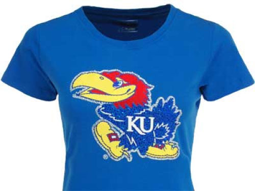 Kansas Jayhawks Campus Couture NCAA Womens T-Shirt With Glitt