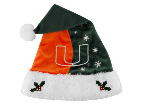 Miami Hurricanes Team Logo Santa Hat