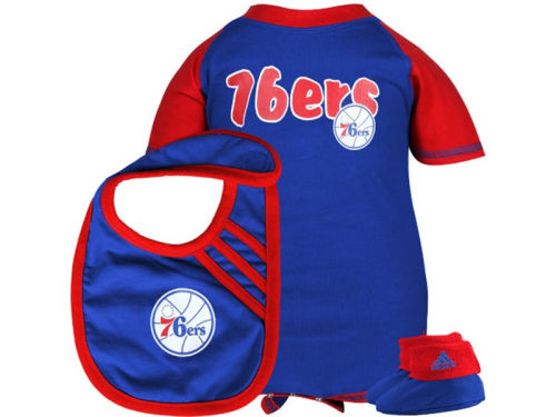Philadelphia 76ers Outerstuff NBA Infant Bodysuit Bib Bootie Set