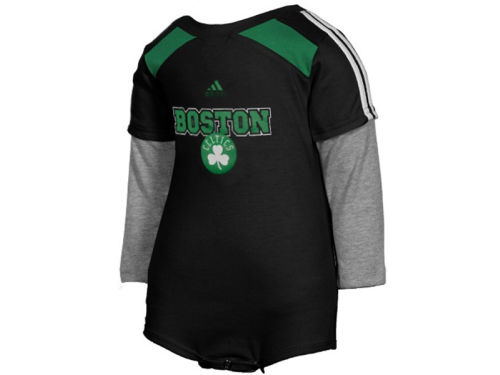 Boston Celtics Outerstuff NBA Newborn Long Sleeve Layered Creeper Pant Set