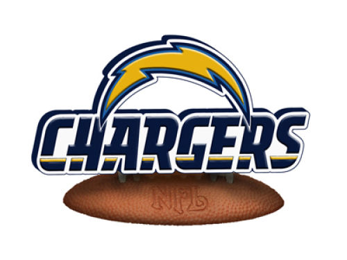 San Diego Chargers 3D Logo with Wood Base