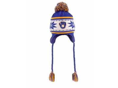 Milwaukee Brewers MLB Jr Striped Snowflake Knit Hats