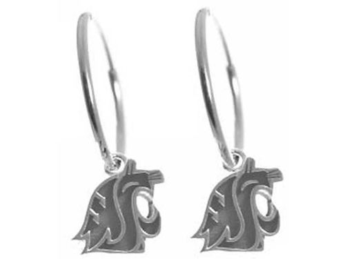 Washington State Cougars NCAA Womens Silver Hoop Earrings