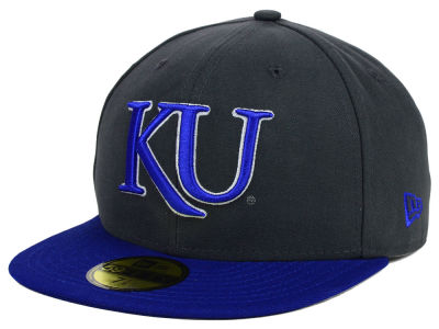 Kansas Jayhawks NCAA 2 Tone Graphite and Team Color 59FIFTY Cap Hats