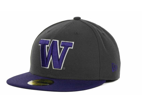 Washington Huskies New Era NCAA 2 Tone Graphite and Team Color 59FIFTY Cap Hats