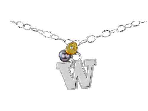 Washington Huskies Silver Color Dangle Bracelet
