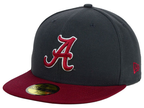 Alabama Crimson Tide New Era NCAA 2 Tone Graphite and Team Color 59FIFTY Cap Hats