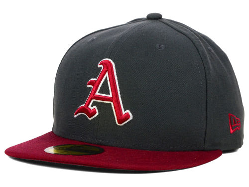 Arkansas Razorbacks New Era NCAA 2 Tone Graphite and Team Color 59FIFTY Cap Hats