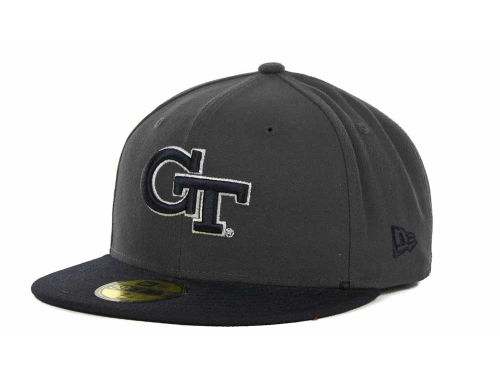 Georgia Tech Yellow Jackets New Era NCAA 2 Tone Graphite and Team Color 59FIFTY Cap Hats