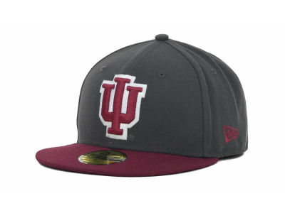 Indiana Hoosiers NCAA 2 Tone Graphite and Team Color 59FIFTY Cap Hats