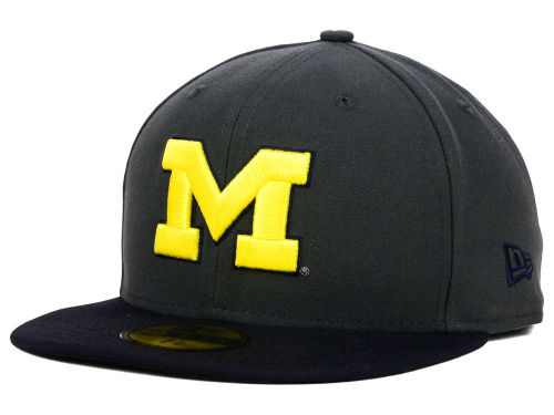 Michigan Wolverines New Era NCAA 2 Tone Graphite and Team Color 59FIFTY Cap Hats