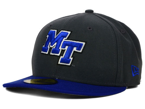 Middle Tennessee State Blue Raiders New Era NCAA 2 Tone Graphite and Team Color 59FIFTY Cap Hats