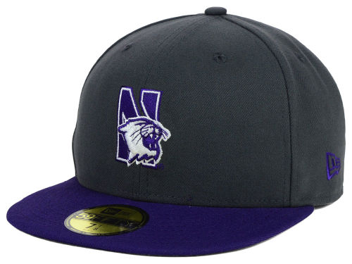 Northwestern Wildcats New Era NCAA 2 Tone Graphite and Team Color 59FIFTY Cap Hats