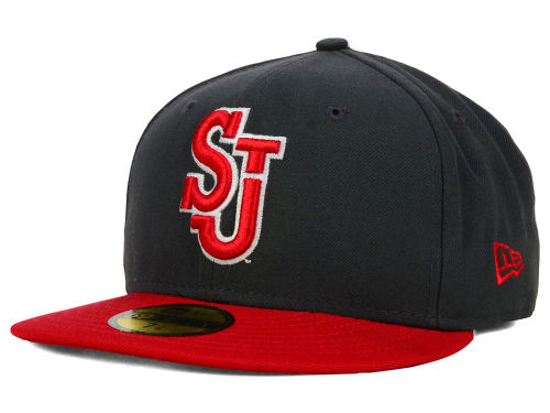 St Johns Red Storm New Era NCAA 2 Tone Graphite and Team Color 59FIFTY Cap Hats