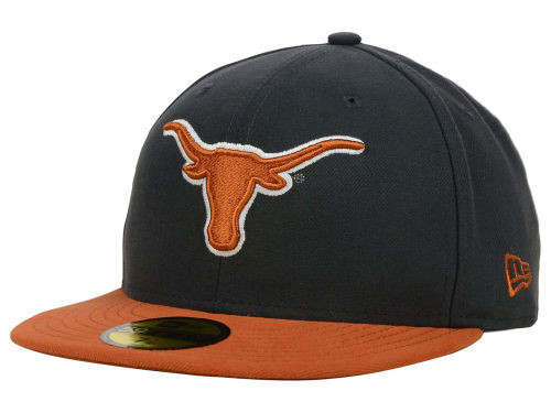 Texas Longhorns New Era NCAA 2 Tone Graphite and Team Color 59FIFTY Cap Hats