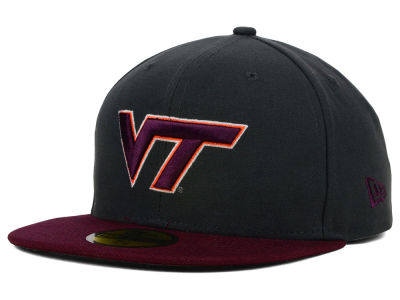 Virginia Tech Hokies NCAA 2 Tone Graphite and Team Color 59FIFTY Cap Hats