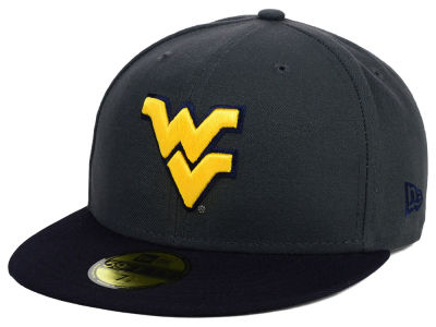 West Virginia Mountaineers NCAA 2 Tone Graphite and Team Color 59FIFTY Cap Hats