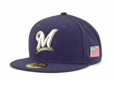 Milwaukee Brewers MLB AC On Field 9-11 Patch 59FIFTY Cap Hats