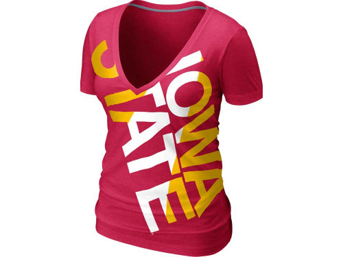Iowa State Cyclones Nike NCAA Womens Deep V Blended T-Shirt