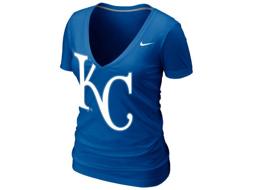 Kansas City Royals Nike MLB Womens Deep V Burnout T-Shirt