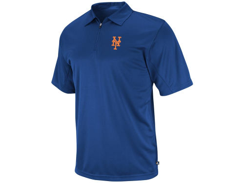 New York Mets Majestic MLB Logo Tech Synthetic 1/4 Zip Polo
