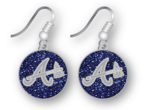 Atlanta Braves Glitter Dangle Earrings Aminco