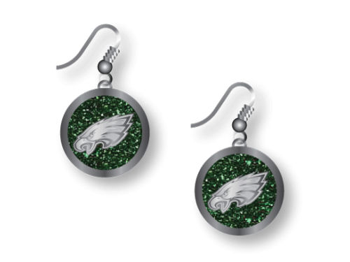 Philadelphia Eagles Aminco Inc. Glitter Dangle Earrings Aminco