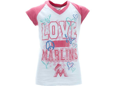 Florida Marlins MLB Girls Slub Vneck Raglan