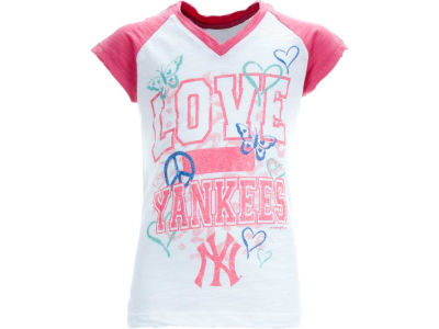 New York Yankees MLB Girls Slub Vneck Raglan