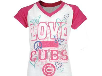 Chicago Cubs MLB Girls Slub Vneck Raglan