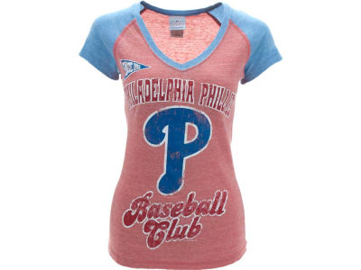 Philadelphia Phillies MLB Womens Tri-Natural Vneck Raglan T-Shirt