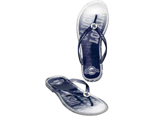 Milwaukee Brewers Forever Collectibles MLB Ladies Jelly Flip Flops