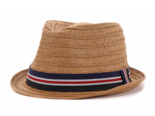 LIDS Private Label PL Straw Fedora With Navy Band Hats