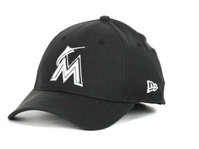 Miami Marlins MLB Black and White Ace 39THIRTY Hats