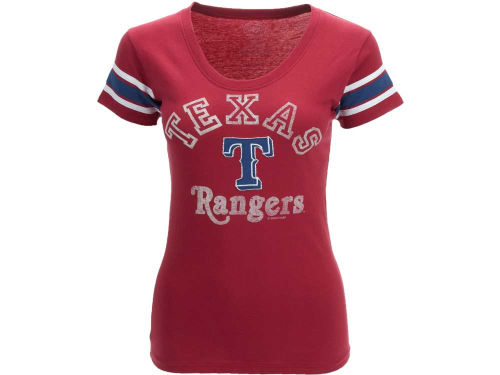 Texas Rangers '47 Brand MLB Womens Off Campus Scoop T-Shirt