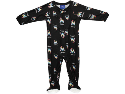 Miami Marlins Outerstuff MLB Newborn Full Zip Raglan Coverall
