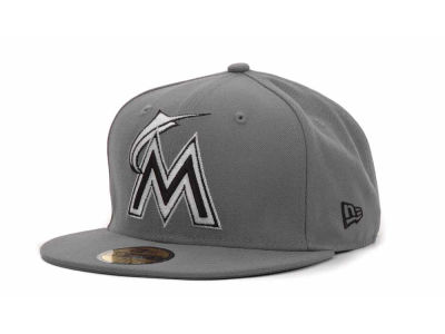 Miami Marlins MLB Gray BW 59FIFTY Hats